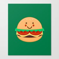 burger Canvas Prints featuring Burger by AnishaCreations