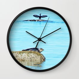 Seal pup and Cormorant getting some Sun  Wall Clock