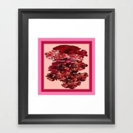 Cranberry-Pink Color Floral Brown Pattern Framed Art Print