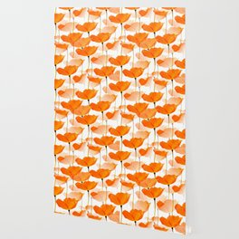 Orange Poppies On A White Background #decor #society6 #buyart Wallpaper