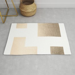 Simply Geometric in White Gold Sands on White Rug