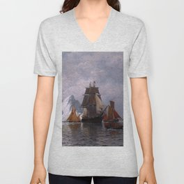 Whaler and Fishing Vessels by William Bradford - Hudson River School Vintage Painting Unisex V-Neck