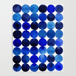 Blue Circles in Watercolor Poster