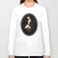 tesla Long Sleeve T-shirts featuring Nikola Tesla by Abigail Larson