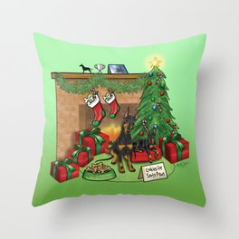 Manchester Terrier Christmas Throw Pillow