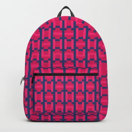 PUZZLE bright red and pink shapes on navy blue background Backpack