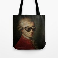 mozart Tote Bags featuring Funny Steampunk Mozart by Paul Stickland for StrangeStore