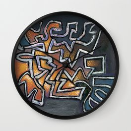 Shattered abstract painting Wall Clock