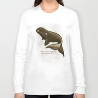 biology Long Sleeve T-shirts featuring North Atlantic Right Whale by Amber Marine