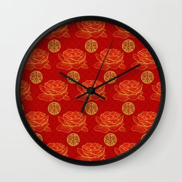Peonies and Gold Double Happiness Symbol Pattern Wall Clock