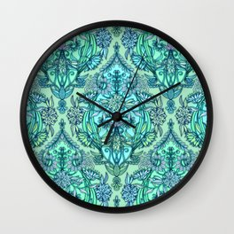 Botanical Moroccan Doodle Pattern in Mint Green, Lilac & Aqua Wall Clock