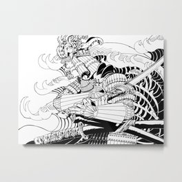 Tsunami Samurai Metal Print