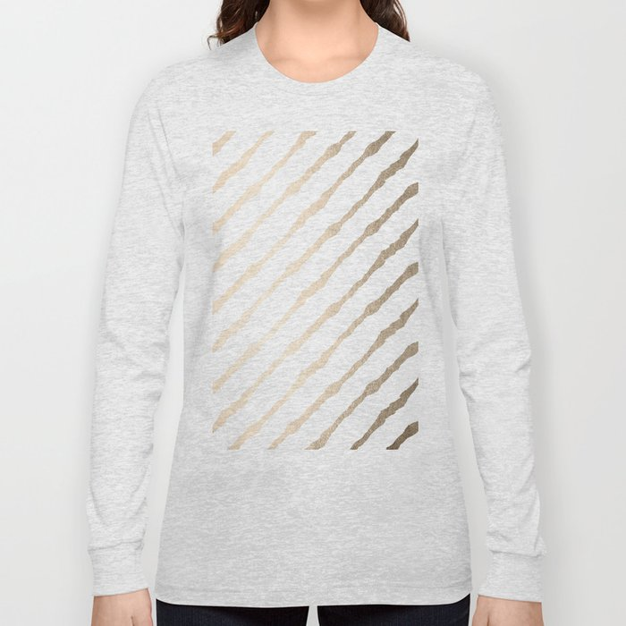Simply Diagonal Stripes in White Gold Sands on White Long Sleeve T-shirt