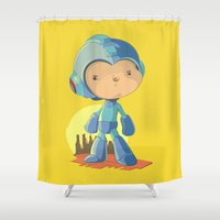 megaman Shower Curtains featuring Megaman by Rod Perich