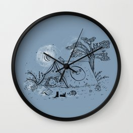 Camping in nature ink illustration Wall Clock