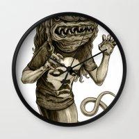 demon Wall Clocks featuring Demon by Tim Maclean