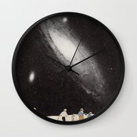 hiking Wall Clocks featuring hiking under the stars by rebecca roe