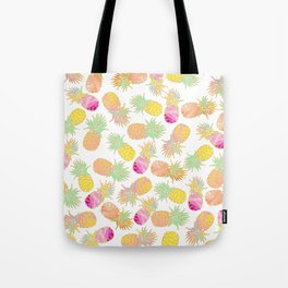 Tropical neon pink teal watercolor faux gold glitter pineapple Tote Bag