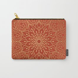 Gold Mandala Pattern On Red Carry-All Pouch