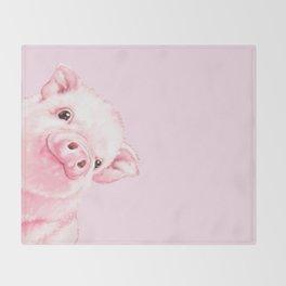 Sneaky Baby Pink Pig Throw Blanket