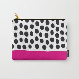 Modern Handpainted Polka Dots with Pink Carry-All Pouch