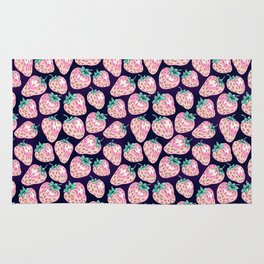 Pink Strawberry pattern on purple background Rug