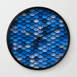 Sparkling Blue Mermaid Scales Wall Clock