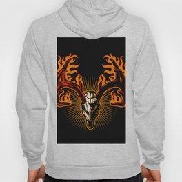 Deer skull on fire Hoody