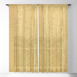 Crinkled Gold Foil Texture Christmas/ Holiday Sheer Curtain