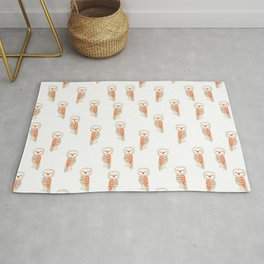 Cute hand painted white orange ivory watercolor owls Rug