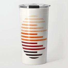 Mid Century Modern Minimalist Circle Round Photo Burnt Sienna Staggered Stripe Pattern Travel Mug