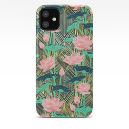Art Deco Lotus Flowers in Peach & Emerald iPhone Case