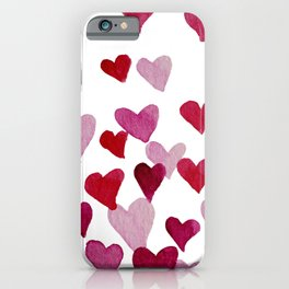 Valentine's Day Watercolor Hearts - pink iPhone Case
