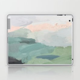 Seafoam Green Mint Black Blush Pink Abstract Nature Land Art Painting Laptop & iPad Skin