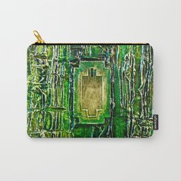 Lost in Oz Abstract Textured emerald Green with Lock Carry-All Pouch