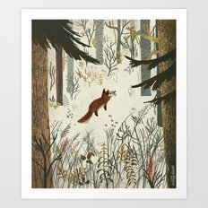 Fox In Snow Art Print