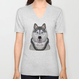 Happy Husky Unisex V-Neck