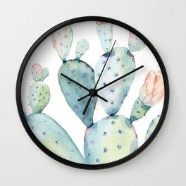 Pastel watercolor prickly pear cactus Wall Clock