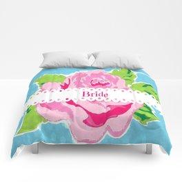 Bride Watercolor Rose -  Ocean Comforters