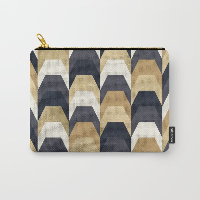 Stacks of Gold and Navy Carry-All Pouch