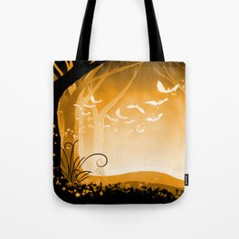Dark Forest at Dawn in Amber Tote Bag