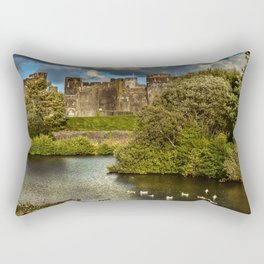 Caerphilly Castle Western Towers Rectangular Pillow