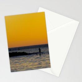 Paddleboarding  - Mackinzie Beach Yellow Sunset Stationery Cards