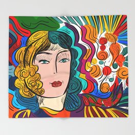 Colorful Pop Girl Illustration Portrait Fashion Digital Throw Blanket