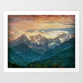 When the Sun says good bye to the Mountains Art Print