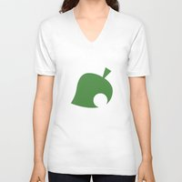 animal crossing V-neck T-shirts featuring Animal Crossing Leaf by Rebekhaart