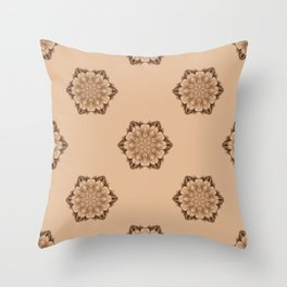 Abstract sepia floral pattern Throw Pillow
