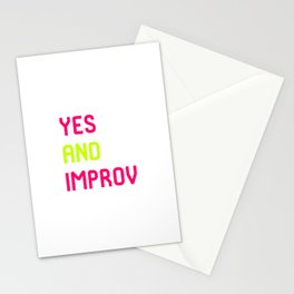 Yes And Improvisational Comedy Improv Quote Stationery Cards
