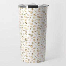 Gold Roses Rosette Pattern on White Travel Mug