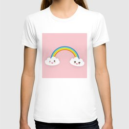 Kawaii funny white clouds, muzzle with pink cheeks and winking eyes, rainbow on light pink T-shirt